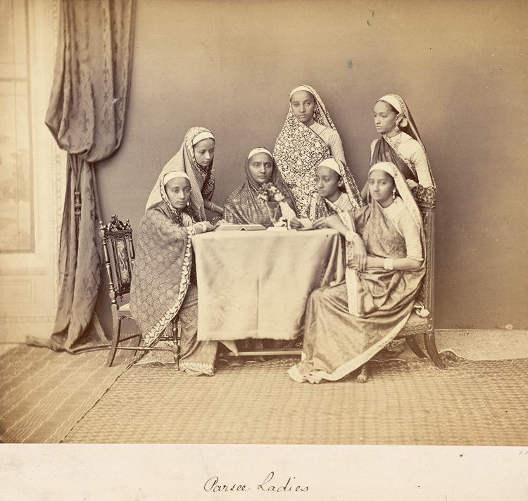 Studio portrait of a group of Parsee ladies, Bombay.